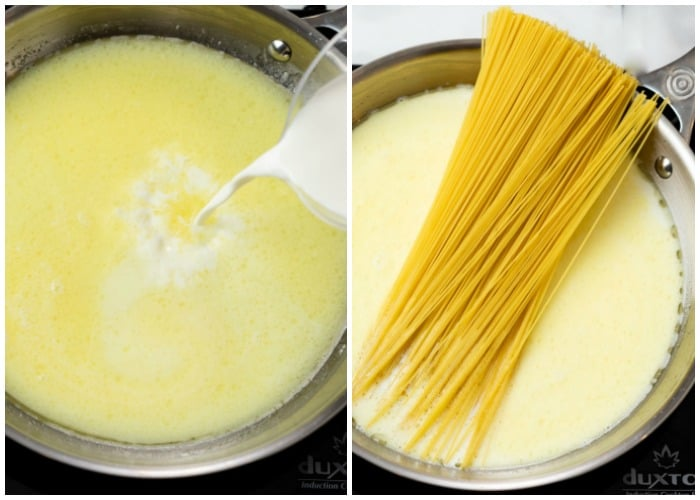 A skillet with cream and pasta being added to make Garlic Parmesan Pasta