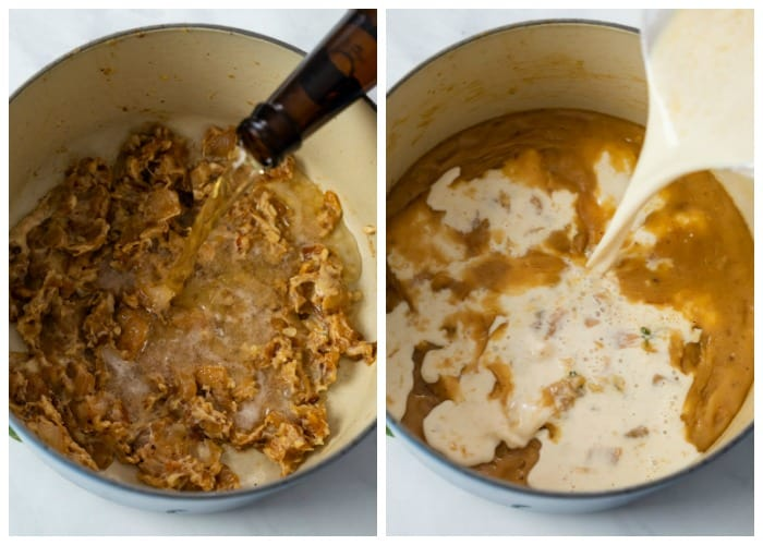 Caramelized onions in a dutch oven with beer, chicken broth, and cream being added to make beer cheese soup.