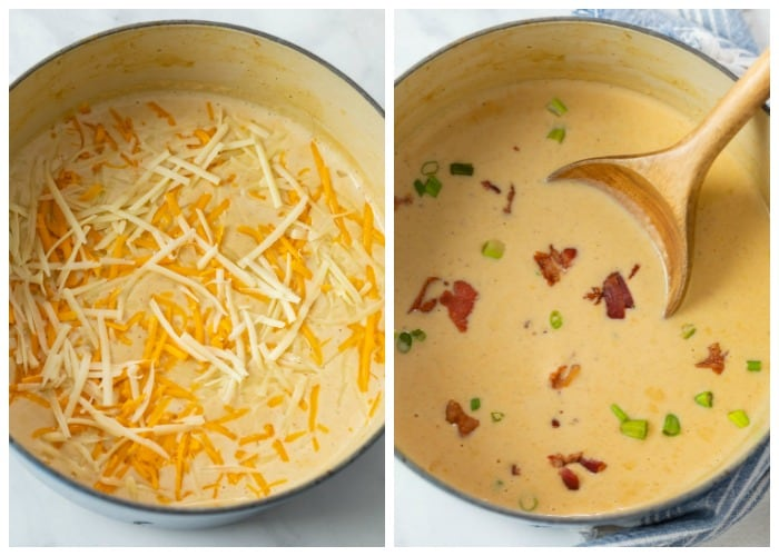 A dutch oven with beer cheese soup before and after having shredded cheese added and mixed in.