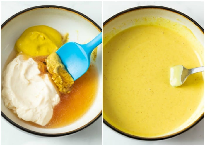 Honey mustard ingredients in a bowl before and after mixing it.