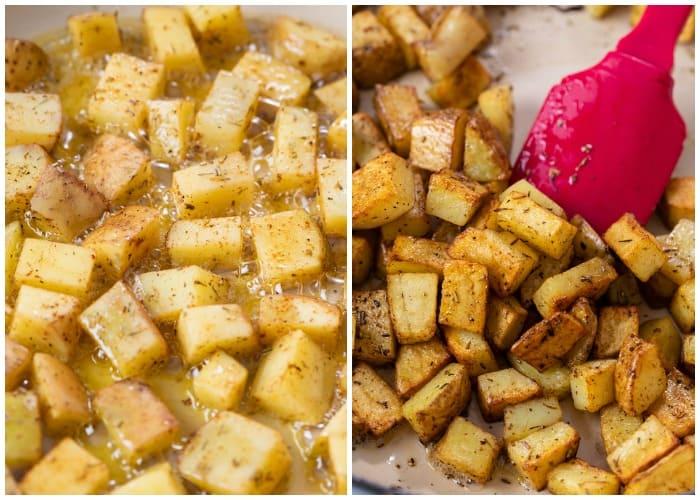 Seasoned potatoes cooking in a skillet until crispy.