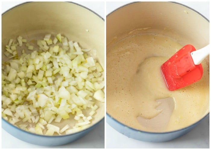 Cooking onions and making a roux to make Panera's Broccoli Cheddar Soup