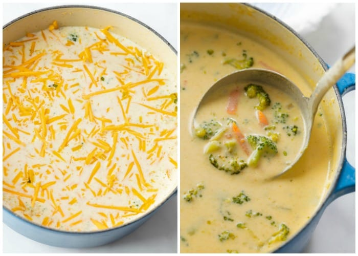 Melting cheese into soup to make Panera's broccoli cheddar soup recipe.