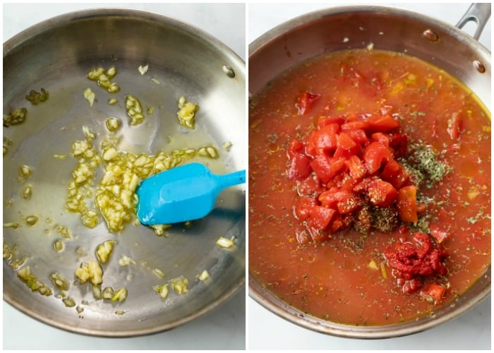 Cooking garlic in a skillet next to a skillet with ingredients to make creamy tomato pasta.