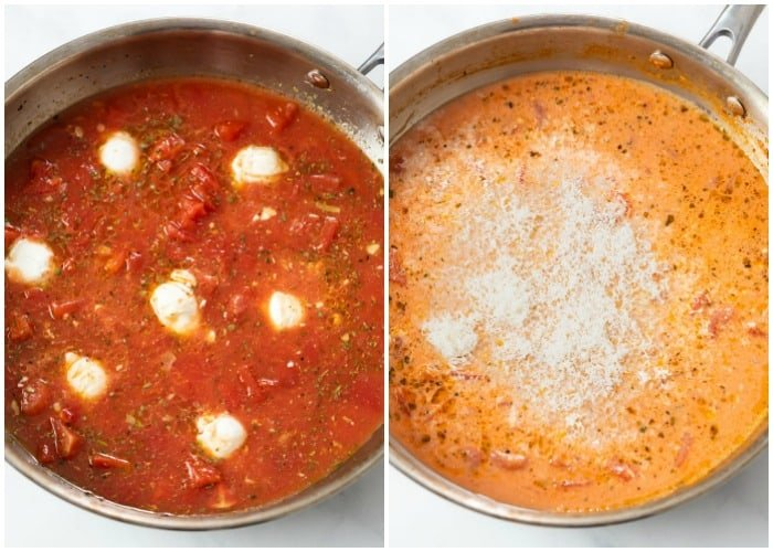 Adding cream cheese and Parmesan cheese to a skillet for creamy tomato pasta.