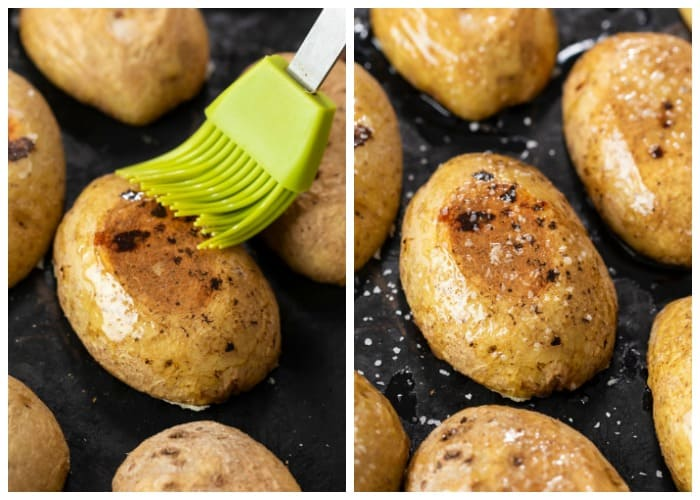 Brushing potato skins with bacon drippings and sprinkling with kosher salt.
