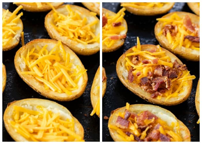 Adding shredded cheese and crumbled bacon to potato skins.
