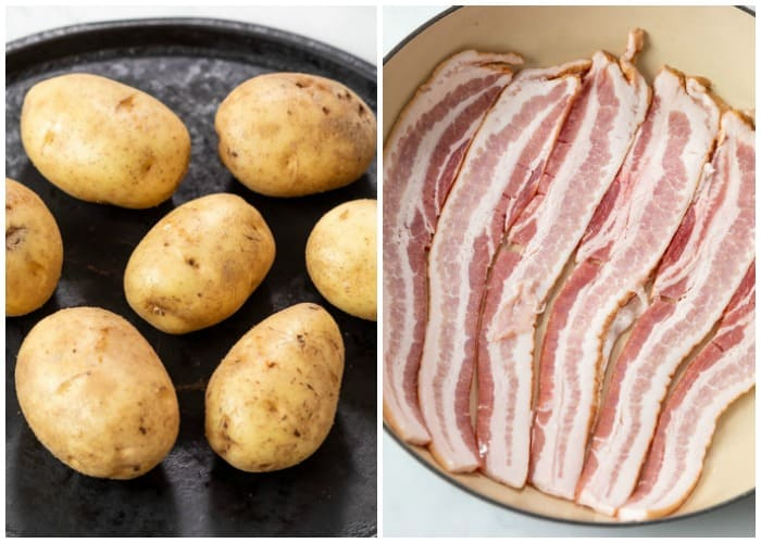 Potatoes on a baking sheet before being baked next to a skillet of uncooked bacon.