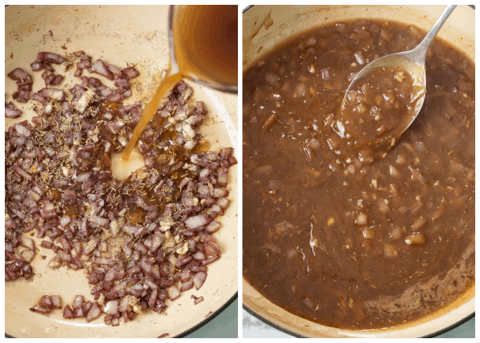 Adding beef broth and seasonings to softened wine and onions to make beef tips and gravy.