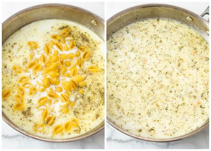 Adding shells to a cream sauce for baking Broccoli Pasta.