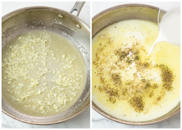 Cooking butter, garlic, chicken broth, cream, and herbs for Broccoli Pasta.