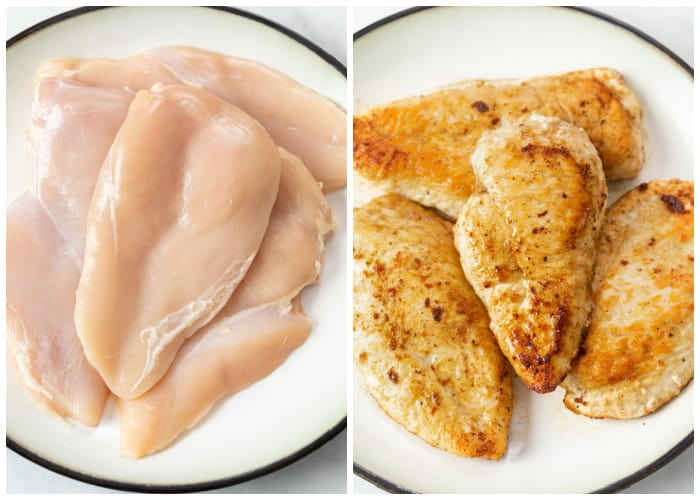 Chicken breasts on a plate before and after being seared.