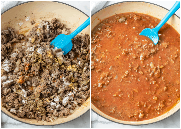 Cooking ground beef and adding tomato sauce for Creamy Beef and Shells