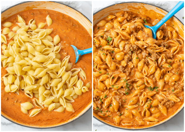 Adding pasta shells to a creamy tomato sauce to make Creamy Beef and Shells