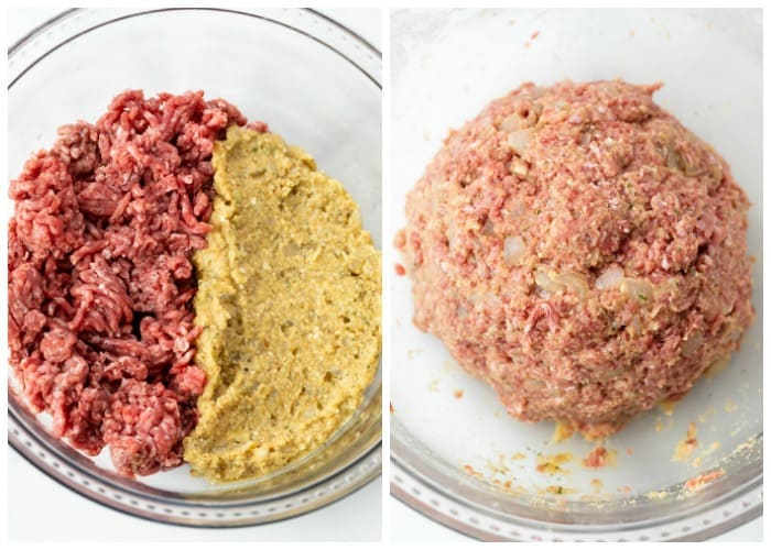 Combining meat with a panade to make mixture for Salisbury steak.