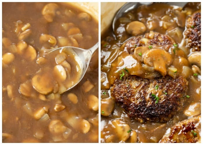 Adding Salisbury Steak to mushroom gravy in a skillet.