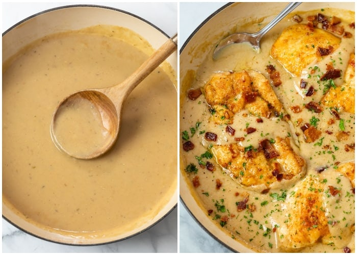 A pan of gravy next to a pot of Smothered Chicken topped with bacon.