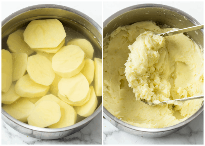 Sliced potatoes in water next to a pot of mashed potatoes.