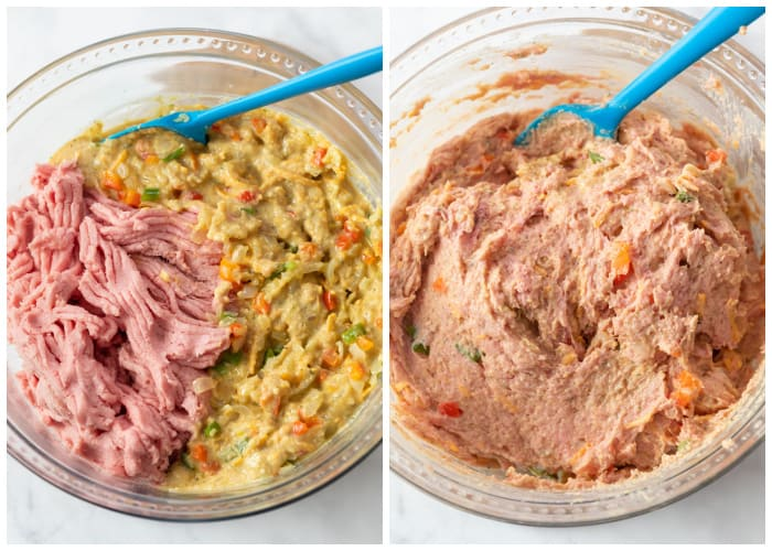 Panade and ground turkey for turkey meatloaf before and after being mixed together.
