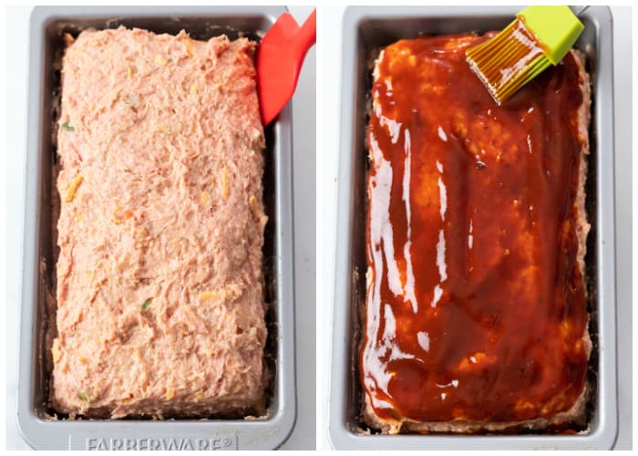 Turkey Meatloaf in a pan being topped with glaze before baking.