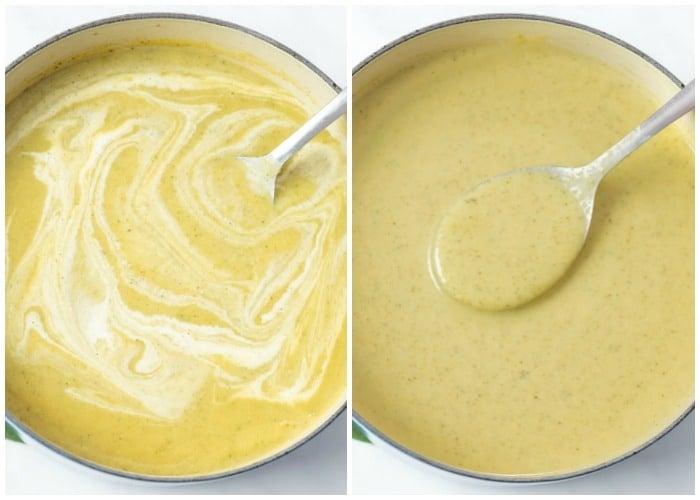 Adding cream to a pot of cream of broccoli soup.