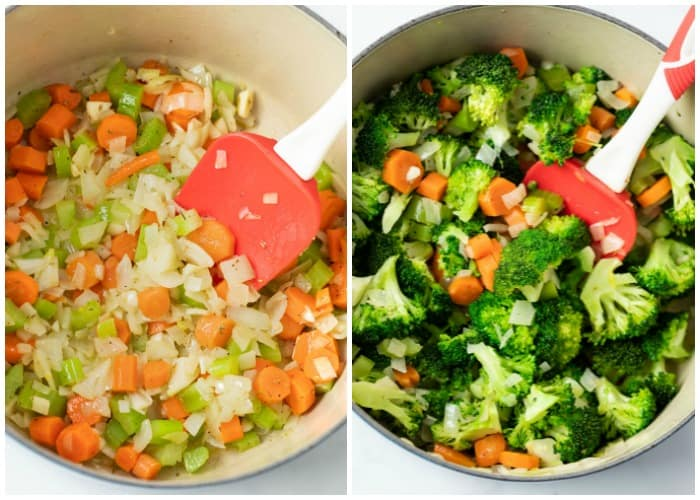 A dutch oven with vegetables for making cream of broccoli soup.