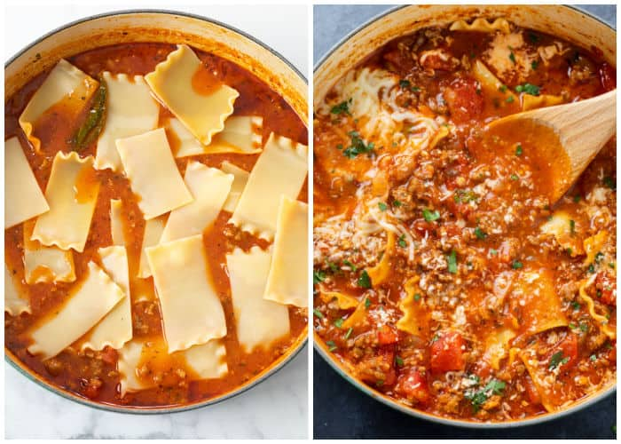Adding lasagna noodles to a pot of meaty tomato soup to make lasagna soup.