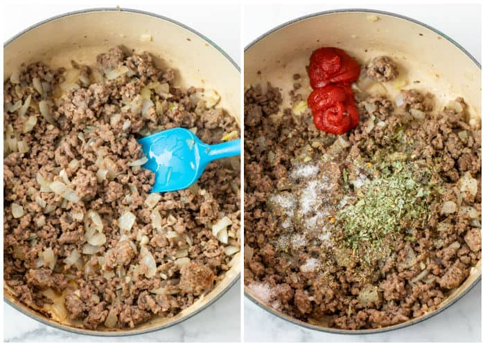 Cooking ground beef and sausage in a dutch oven and adding tomato paste and seasonings to make Lasagna Soup.
