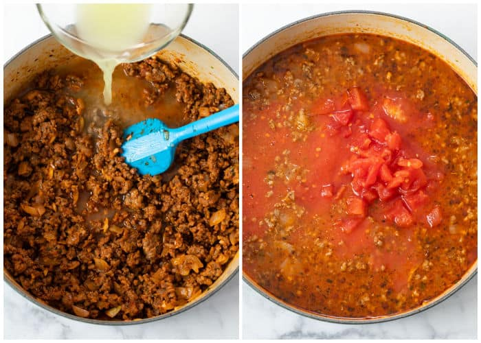Ground beef and sausage in a pot with tomato sauce, chicken broth, and diced tomatoes being added for Lasagna soup.