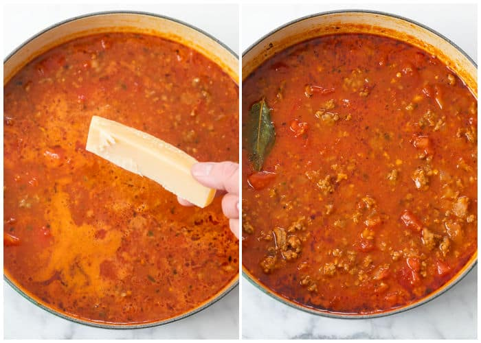 A soup pot filled with tomato broth for Lasagna soup