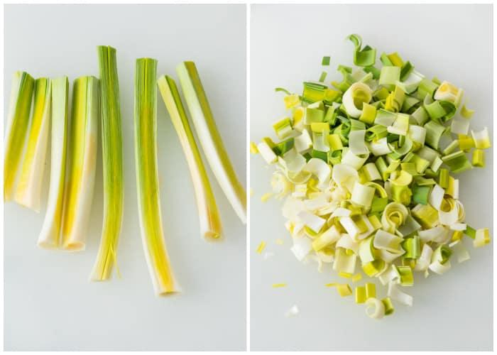 Dicing up the stems of leeks to make potato leek soup.