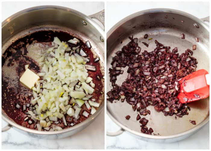 Cooking down onions, butter, and red wine as a base for Beef Vegetable Soup.