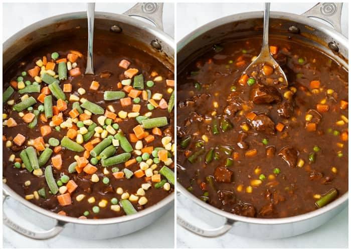 Adding frozen vegetables to Beef Vegetable Sou.