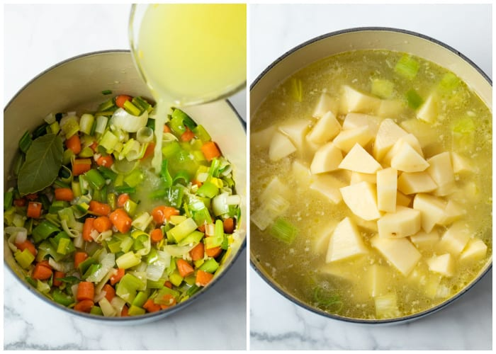A soup pot with sauteed vegetables and broth being added to make Potato Leek Soup.