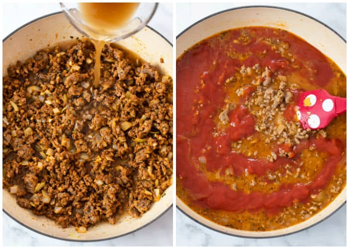 A large pot with ground beef and sauce with beef broth and sauce being added to make Skillet Lasagna.