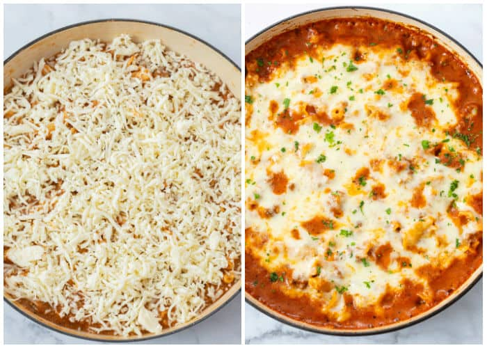 A large pot of Skillet Lasagna topped with cheese before and after baking.