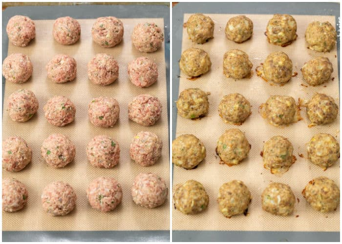 Turkey Meatballs on a baking sheet before and after baking.