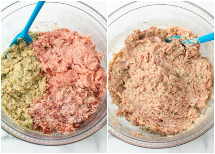 Combining a panade and ground turkey and sausage to make meatballs.