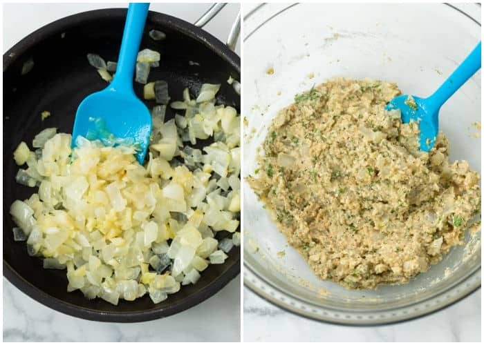 Sauteed onions in a skillet next to a glass bowl with a panade for making Turkey Meatballs