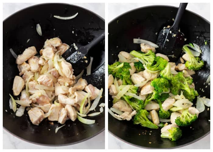A wok with onions, garlic, chicken, and broccoli for making easy chicken stir fry