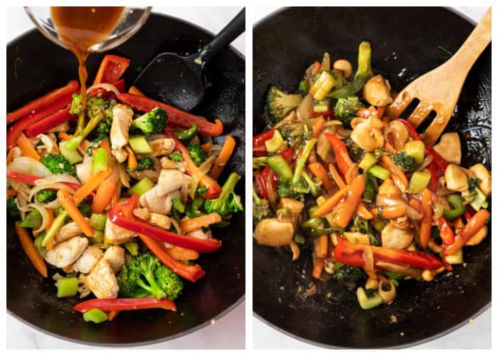 Adding sauce to easy chicken stir fry in a wok.