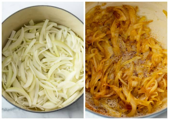 Onions in a dutch oven before and after caramelizing.