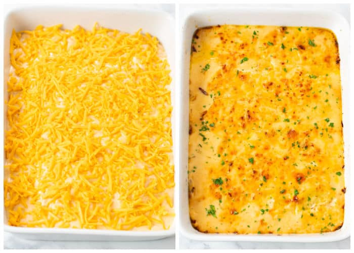 Cheesy scalloped potatoes in a white casserole dish before and after being baked.