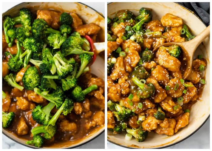 Mixing Chicken and Broccoli into Sauce for General Tso Chicken