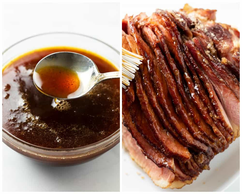 Ham with glaze being brushed on it next to a bowl of glaze.