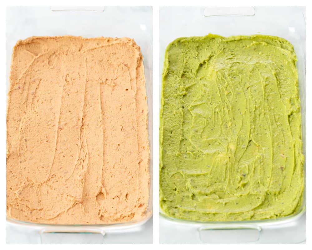 Layers of refried beans and guacamole for 7 layer dip.