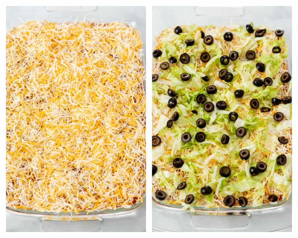 Layers of shredded cheese in a casserole dish topped with shredded lettuce and black olives for 7 layer dip.