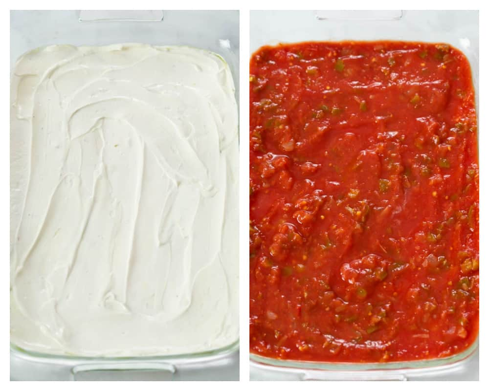 Layers of sour cream and salsa for 7 layer dip.