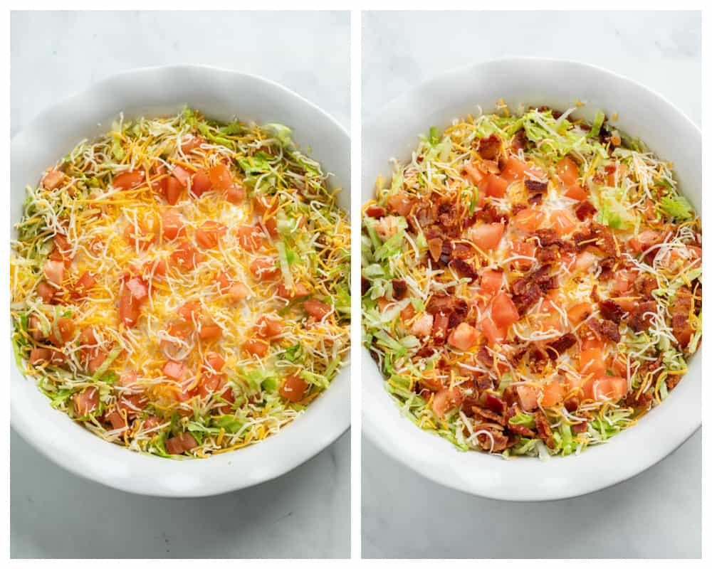 A white pie pan filled with BLT Dip before and after bacon is added to the top.