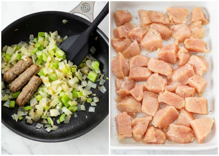 A side by side image of onions, celery, and sausage in a skillet next to a casserole dish with uncooked diced chicken.
